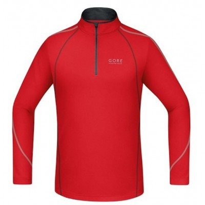 Maillot GORE ESSENTIAL Zip Shirt long homme rouge