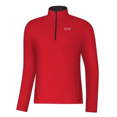 Maillot GORE R3 Thermo Manches Longues Zip Homme rouge