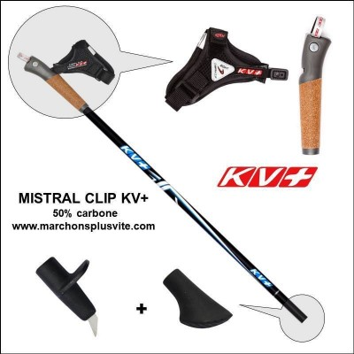 Bâtons marche nordique KV+ MISTRAL Clip