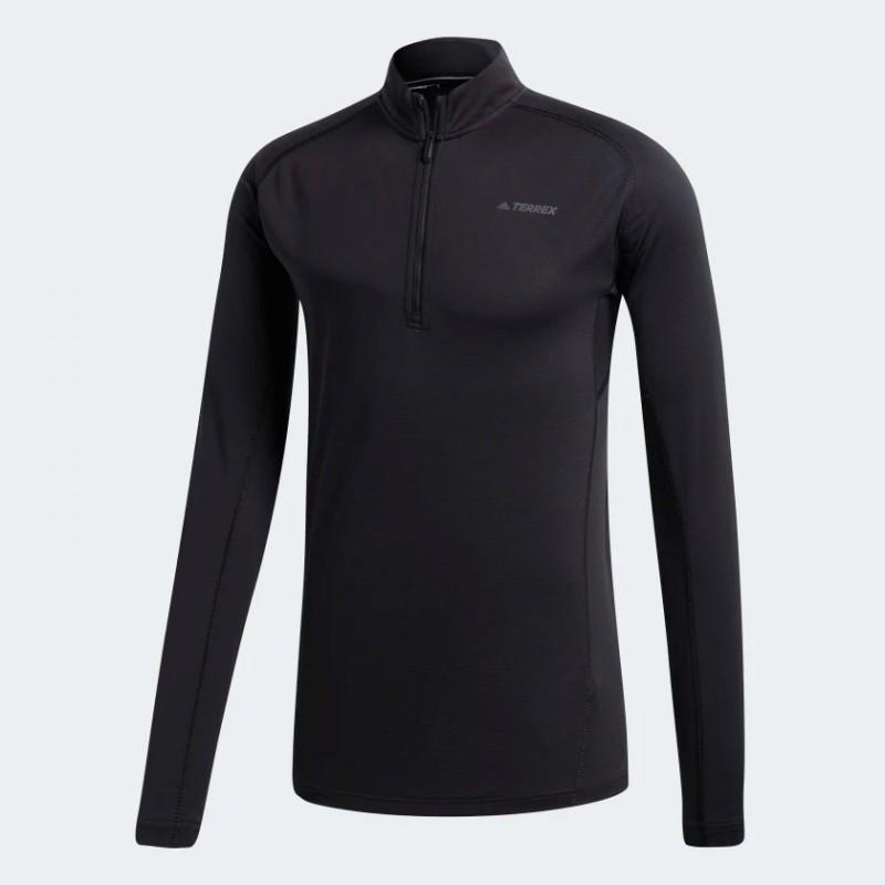 Tee-Shirt ML ADIDAS TraceRocker 1/2 zip Homme noir