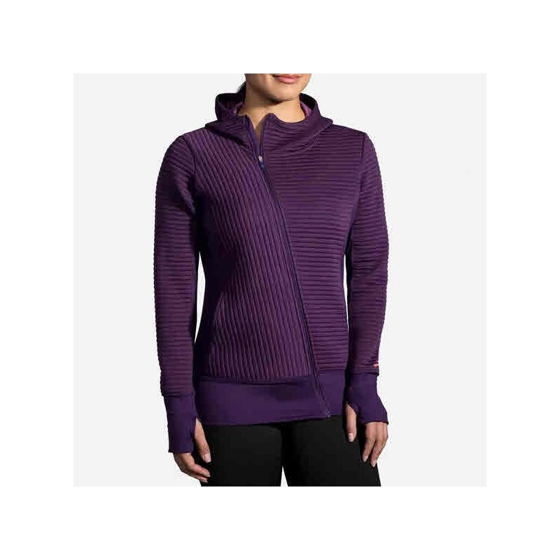 Veste BROOKS Fly-By Hoodie Femme Berry