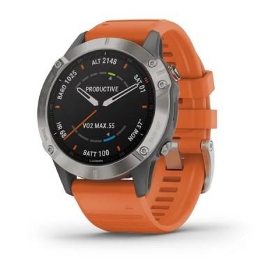 Montre GPS GARMIN Fenix 6 Sapphire, Titane bracelet Orange