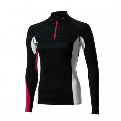 Maillot breath thermo virtual body 1/2zip G1 Femme noir/rose