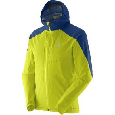 Veste imperméable à capuche SALOMON Bonatti Homme jaune et bleue