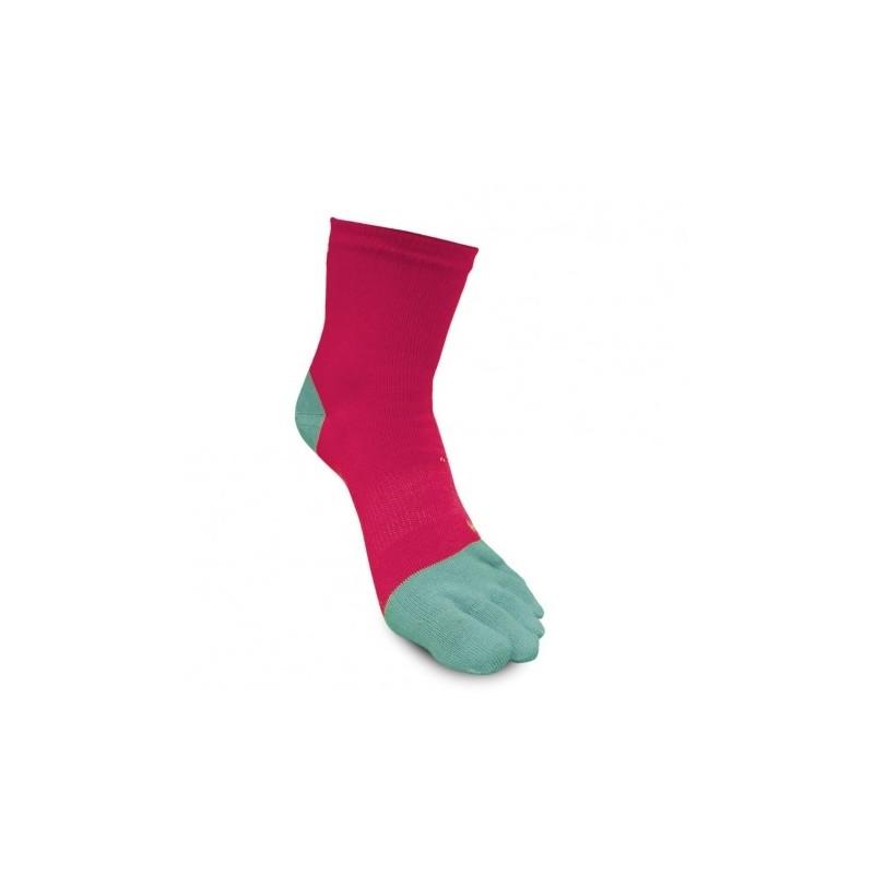 Chaussettes Raidlight 5 toes sock framboise/bleu