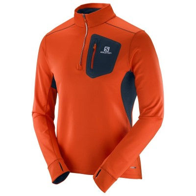 Maillot Salomon Trail Runner Warm Mid homme orange