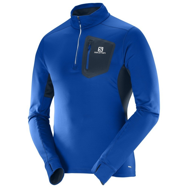 Maillot SALOMON Trail RUNNER Warm homme bleu Yonder