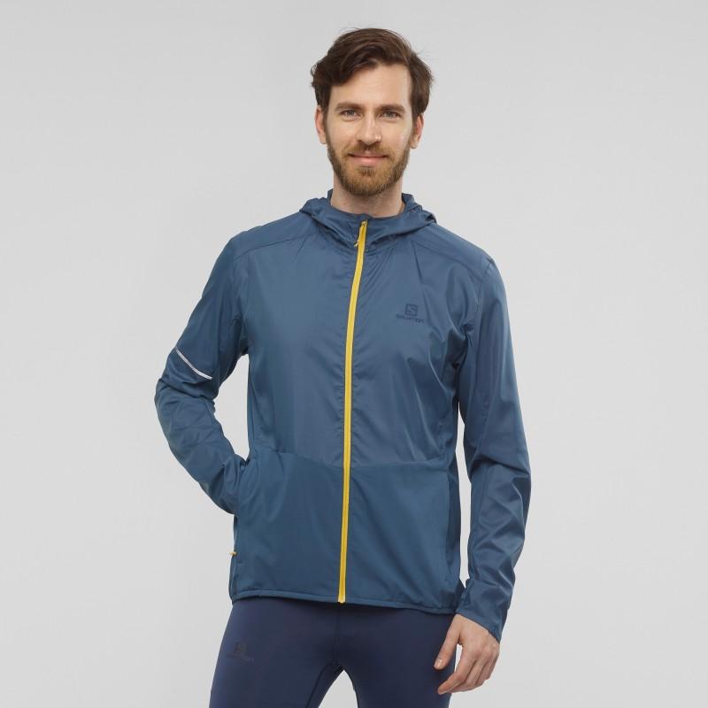 Veste Coupe-Vent pour Homme Bleu AGILE FZ HOODIE M Polyester//Elasthanne Taille : XL Salomon Dark Denim LC1372800